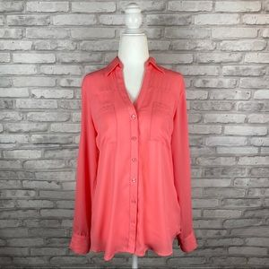 Express Pink Semi Sheer Button Down Blouse Size S